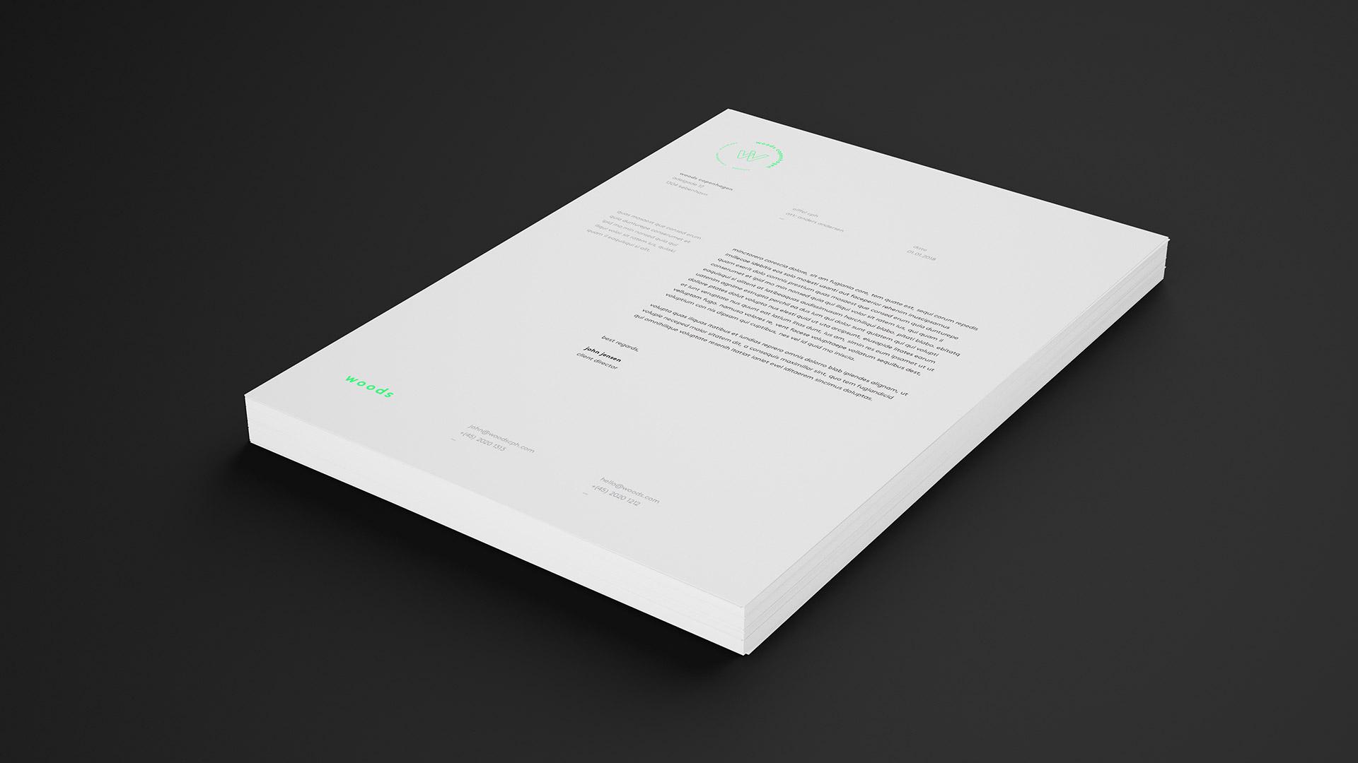 Tetris - Woods - Visuel identitet - Brevpapir